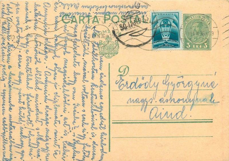 Carol II green 3.50 Lei uprated postal stationery 1936 Cluj to Aiud Alba Romania