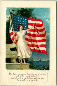 1910s WWI PATRIOTIC Postcard …Call All Her Sons to Defend Her… Lady Liberty
