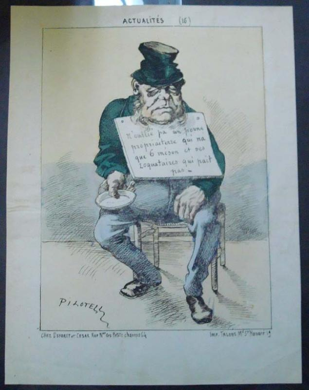 France -19th Century Litho Showing Caricature of Beggar