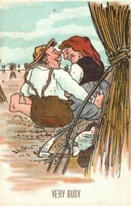Vintage Postcard 1900's Man & Woman Courting In Wheat Field Love Greeting