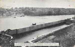 Minnesota St.Paul   Goverment Dam on Mississippi River  Steamboat Lock