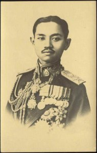 siam thailand, King Rama VII Prajadhipok in Uniform, Medals (1930s) Postcard