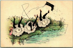 Vintage Artist-Signed F. CHAMOUIN Postcard 3 Girls FISHING Upset by Boot /Unused
