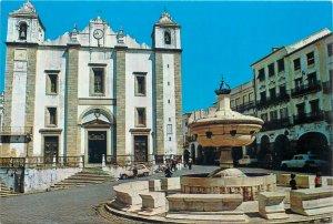 Postcard Portugal Evora Geraldo Square and Santo Antao Church