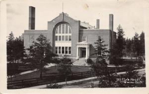 Gwinn Michigan~Club House~Building w Tall Chimneys~Marquette County~1927 RPPC