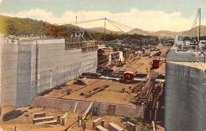 Panama Old Vintage Antique Post Card Miraflores Upper Locks Unused