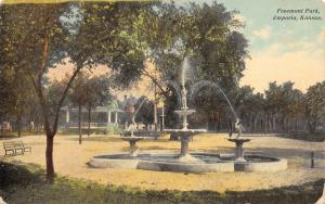 Emporia Kansas~Freemont Park~Bird Spray Fountain~Band Stand~1913 Postcard