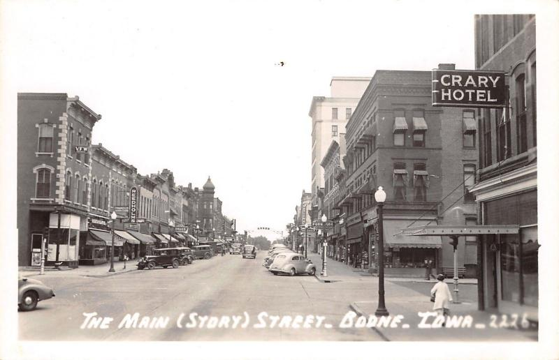 Boone Iowa~Story Street~Crary Hotel~Furniture~Reedholms~National~1930s Cars~RPPC