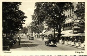 germany, DÜSSELDORF, Königsallee, Cars (1940s) RPPC