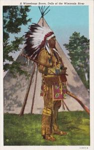 Wiinebago Indian Brave Dells Of The Wisconsin River Curteich