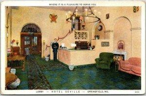 Springfield, Missouri Postcard HOTEL SEVILLE Lobby / Front Desk Scene c1930s