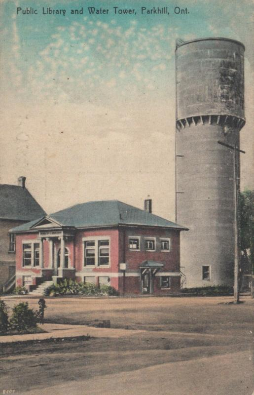PARKHILL , Ontario , 1900-10s ; Public Library & Water Tower
