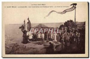 Old Postcard Saint Malo Grand Be Chateaubriand's funeral Entombment