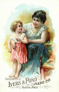 1870s-80s Cute Mother & Daughter Ivers & Pond Pianos Victorian Trade Card F18