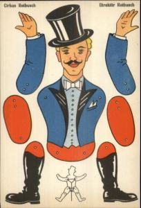 Mechanical Circus Leader Cut-Out Paper Doll Comic Postcard