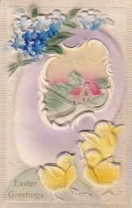 Embossed, EASTER; Greetings, Chicks, Egg shell Country Scene, 00-10s