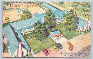 Postcard KY London Town Center Motel Artist Drawing Vintage Linen P16