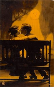 Moon Post Card Man and Woman Kissing on Bench in Moonlight Unused