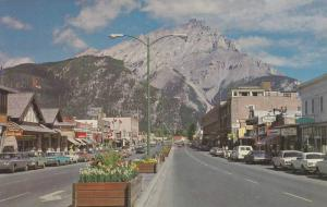 Street View of Banff Avenue and Cascade Mountain, Banff National Park, Canadi...