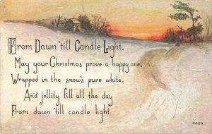 Winter Scene on the Farm Christmas Poem Postcard
