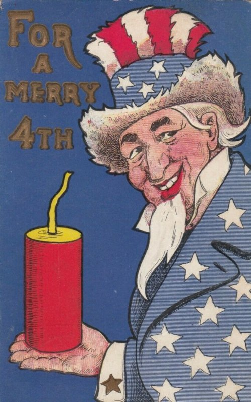 FOURTH of JULY , 1913 ; Uncle Sam & Firecracker