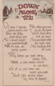 Cannibals Olde English Antique Down Along We Songcard Postcard