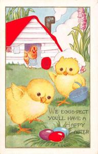 Happy Easter some dressed chicks dyed eggs by Whitney antique pc Z25135