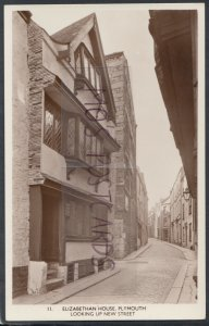 Devon Postcard - Elizabethan House, Plymouth, Looking Up New Street  RS17689