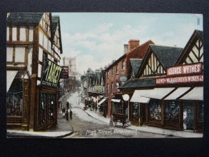 Worcestershire DROITWICH High Street Animated Street Scene c1905 Postcard Wrench