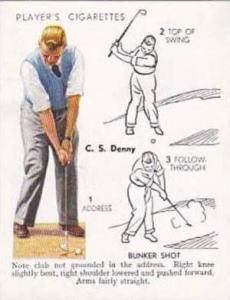 Player Vintage Cigarette Card Golf 1939 No 13 Bunker Shot C S Denny