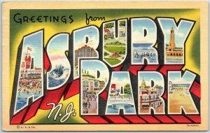 Vintage ASBURY PARK New Jersey Large Letter Postcard Curteich Linen 1943 Cancel