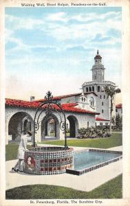 St Petersburg Florida~Hotel Rolyat~1920s Fashion Lady Leans In Wishing Well~PC