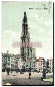 Old Postcard The great Antwerp Place
