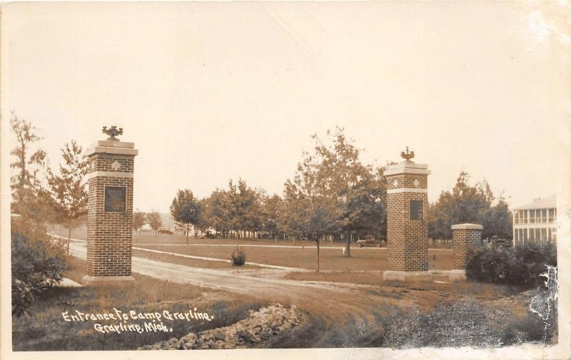 Grayling Michigan National Guard Camp Grayling Entrance~Vintage RPPC-Postcard
