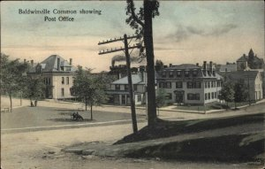 Baldwinville MA Common & Post Office c1910 Postcard