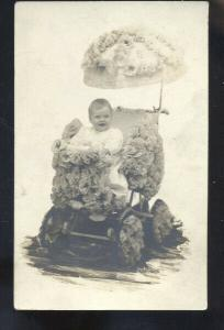 RPPC HARTSVILLE SOUTH CAROLINA FLORAL BABY STROLLER HENRY REAL PHOTO POSTCARD
