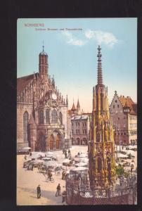 NURNBERG SCHONER BRUNNEN UND FRAUERKIRCHE GERMANY OLD VINTAGE POSTCARD