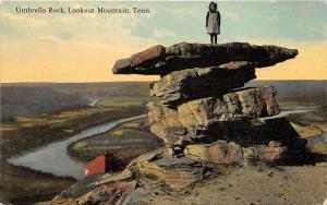 Lookout Mountain Chattanooga Tennessee c1910 Postcard Girl on Umbrella Rock