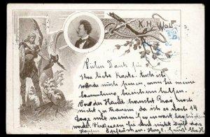 Austria Germany KH Wolf 1898 Nationalist Political Card Anti Semitic USED 97557