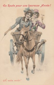 M.M. VIENNE : 2 Girls in Buggy , 1901-07 : Wichera
