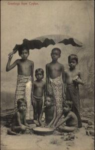 Ceylon Sri Lanka Native Children c1910 Postcard