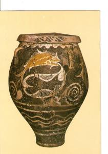 Postal 021630 : Three-handled jar with fish decorations