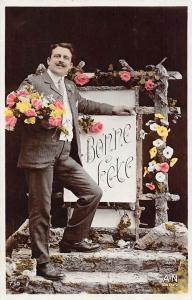 Bonne Fete, elegant man, homme, vintage, fleurs flowers 1908