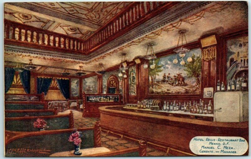 Vintage Mexico City D.F. Postcard HOTEL REGIS Restaurant Bar View c1940s