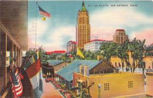 San Antonio Texas~La Villita~Skyscrapers~Flags~Postcard Mailed 1950