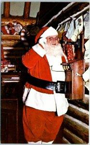 1960s NORTHPOLE, Colorado Postcard Santa Answering Urgent Phone Call Unused