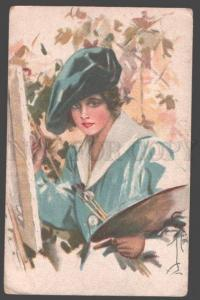 3097784 Lady PAINTER Harrison FISHER old FINNISH No.30/25 RARE