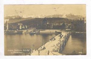 RP: Aerial of Bridge & City / Seebrucke Bahnof u.Stanserhorn,Lucerne,Switzerl...