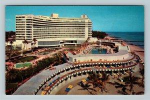 Miami Beach FL- Florida, Fontainebleau, Hotel, Motel, Chrome Postcard