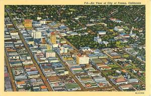 Air View of Fresno, California, CA Linen